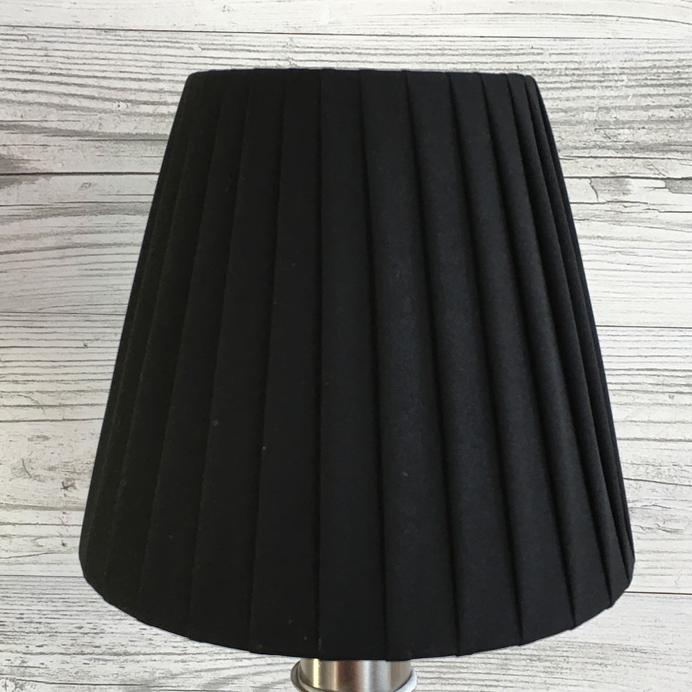 Black pleated candle lamp shade