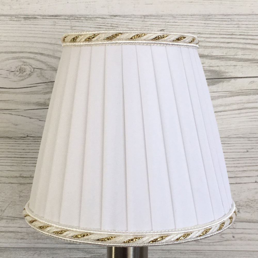 white and gold pleated clip on shade