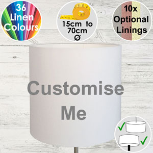 Tall drum lampshade made bespoke in your choice of colours