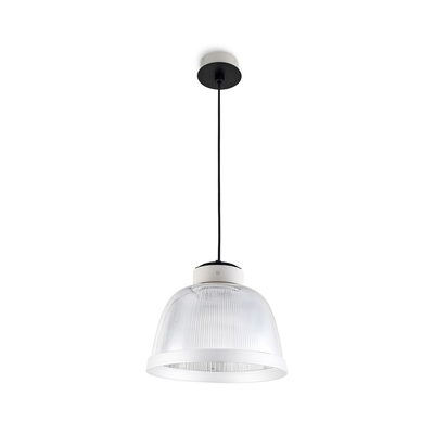 Cup Exposed Pendant with Ribbed Diffuser