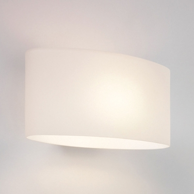 White Opal Oval Wall Light