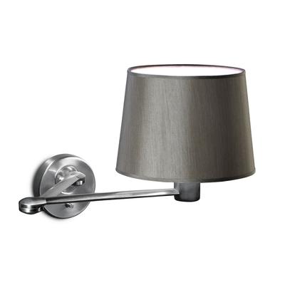 Nickel Adjustable Wall Light w/ Grey Shade