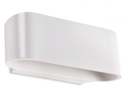 Curved Oval Matt White Wall Light