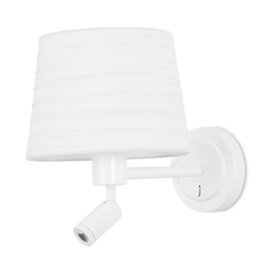 Blanc Matt White LED Wall Light with White Shade