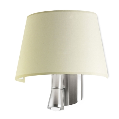 Flush LED Satin Nickel Wall Light with Beige Shade
