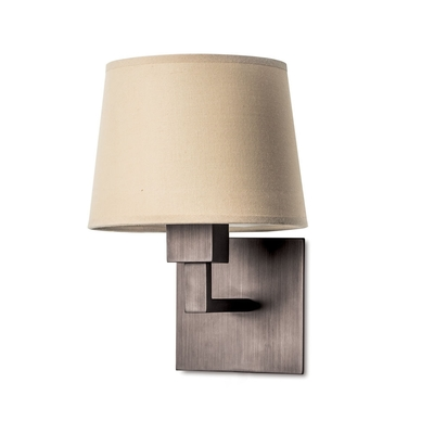 Quad Bronze Wall Light with Beige Shade
