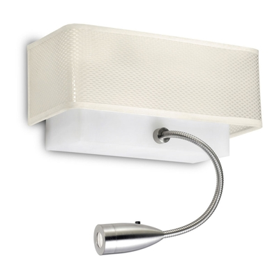 Rectangular White Wall Light with LED Spotlight