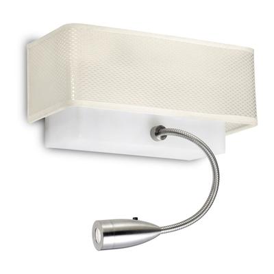 Rectangular White Wall Light with LED Spotlight