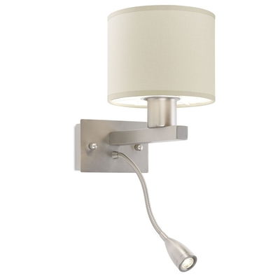 Satin Nickel Wall Light with LED Spotlight