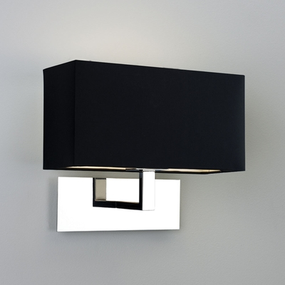 Park Lane Chrome Wall Light and Black Shade