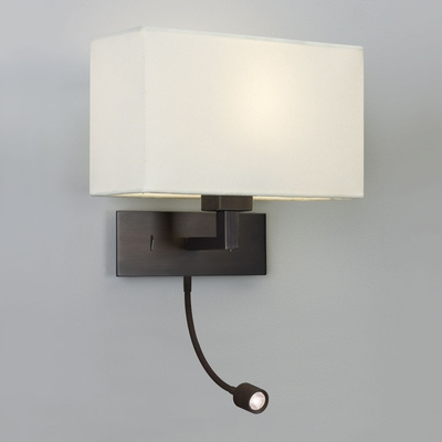 Large Bronze Wall Light with LED Spotlight