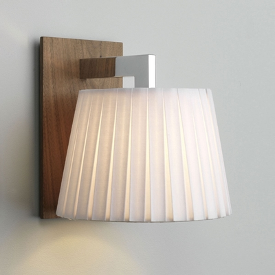 Walnut Wall Light with Pleated Shade