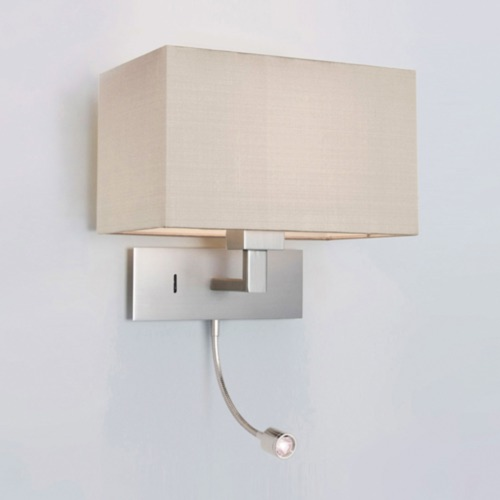 Large Matt Nickel Wall Light with LED Spotlight