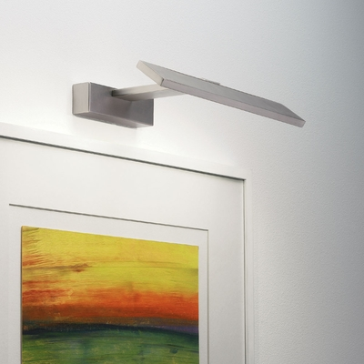 Angled LED Picture Light in Matt Nickel (Wide)