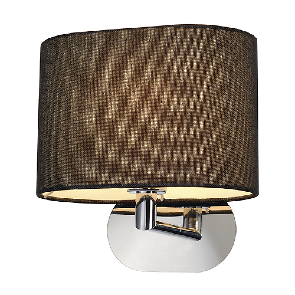 POLISHED CHROME WALL LIGHT WITH OVAL BLACK SHADE - Imperial Lighting