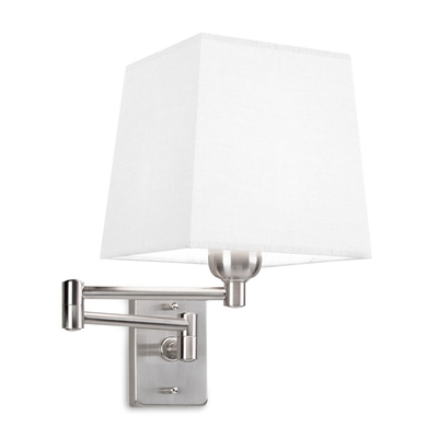 Satin Nickel Wall Light with Square White Shade