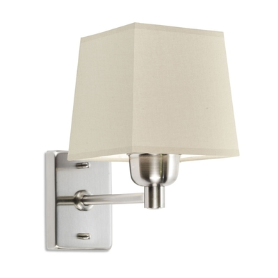 Satin Nickel Wall Light with Beige Square Shade