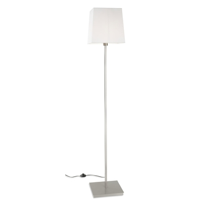 Satin Nickel Floor Lamp with White Square Shade