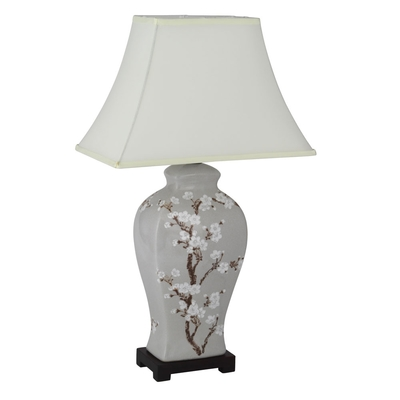 Flower Painted Table Lamp with Shade