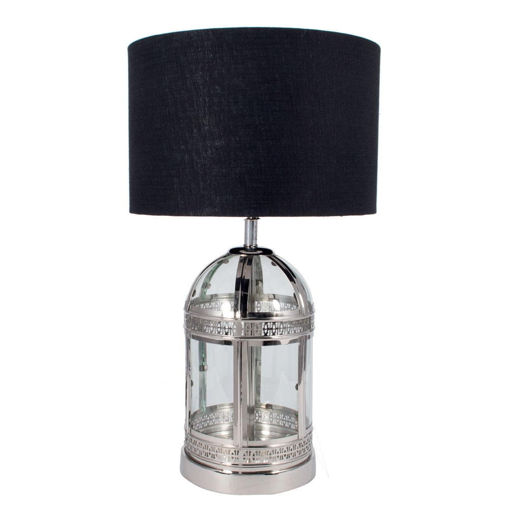 Nickel and clear glass table lamp imperial lighting for Designer glass floor lamp