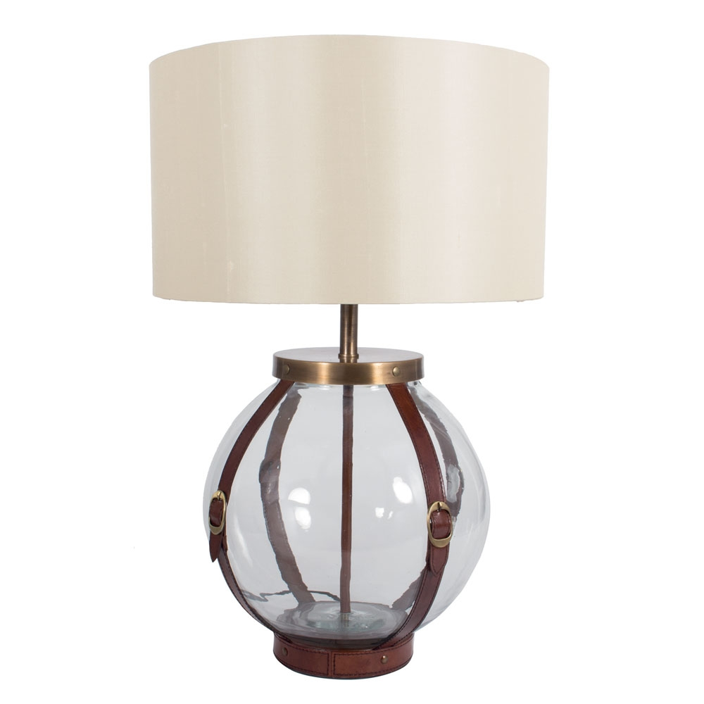 glass table lamp with leather straps round imperial lighting. Black Bedroom Furniture Sets. Home Design Ideas