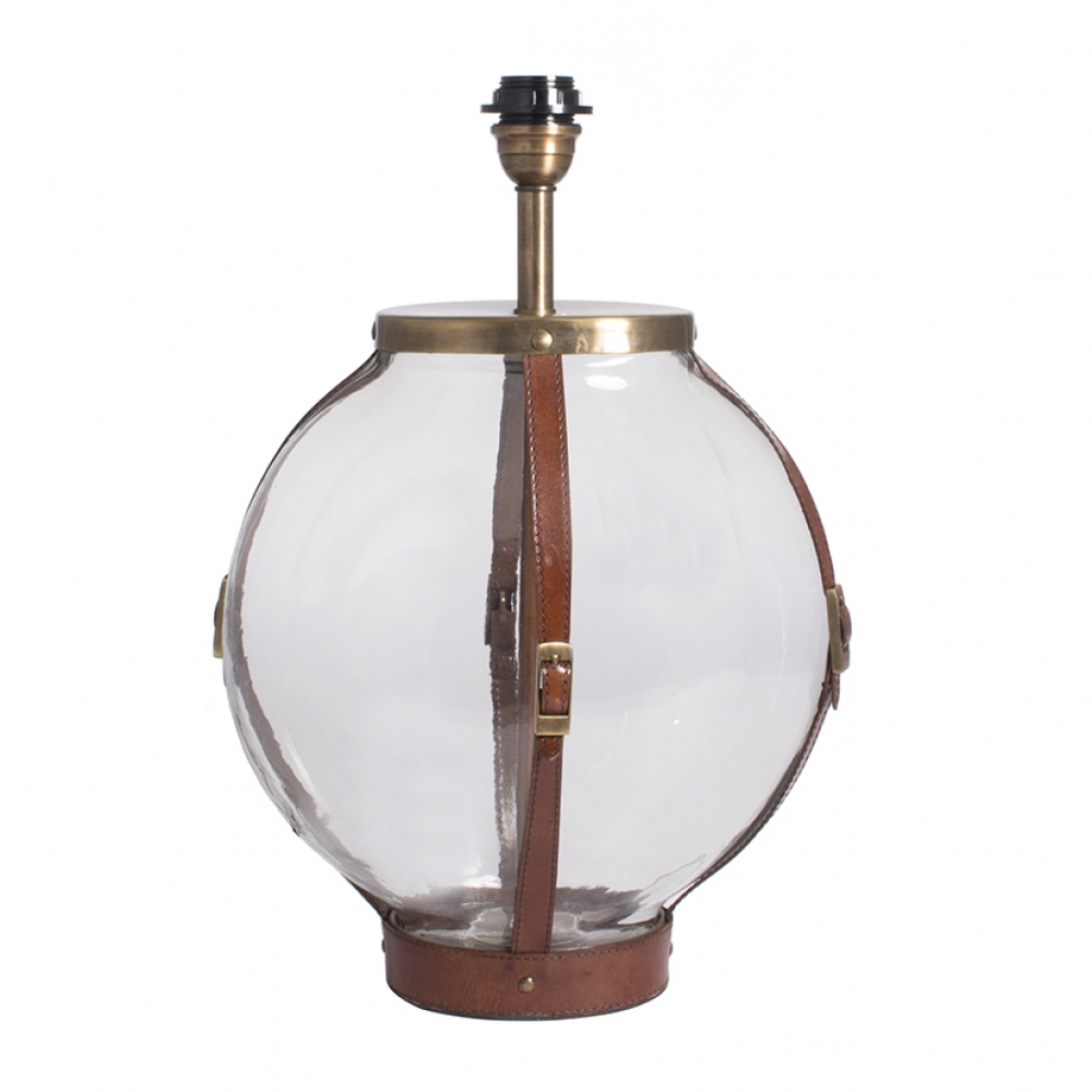 Glass Table Lamp With Leather Straps Round Oval Imperial