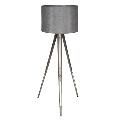 Tripod Metal Floor Lamp With Grey Shade Imperial Lighting