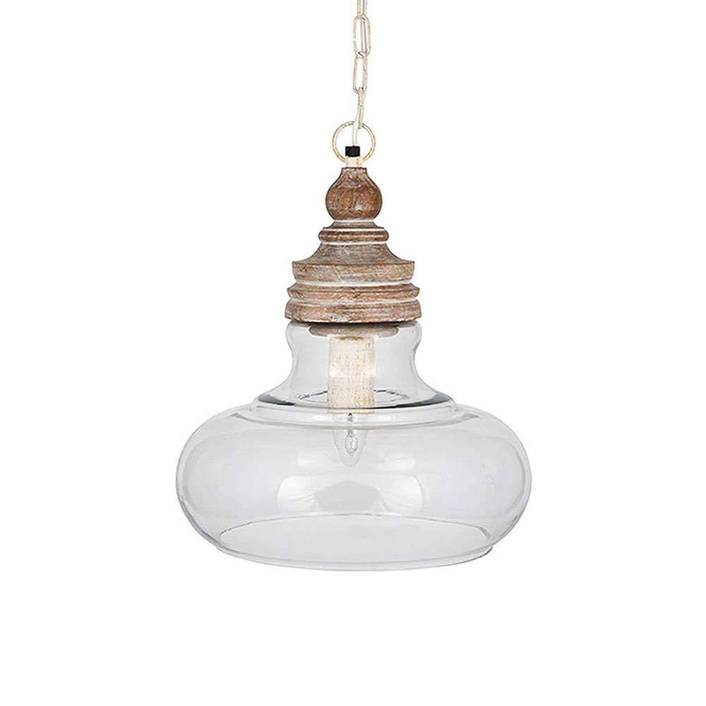 Wood And Glass Pendant Imperial Lighting