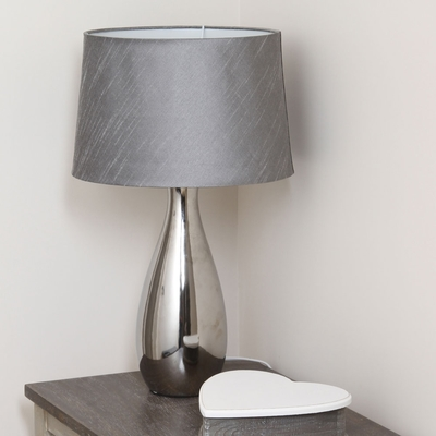 Silver Tall Ceramic Table Lamp With Matching Shade