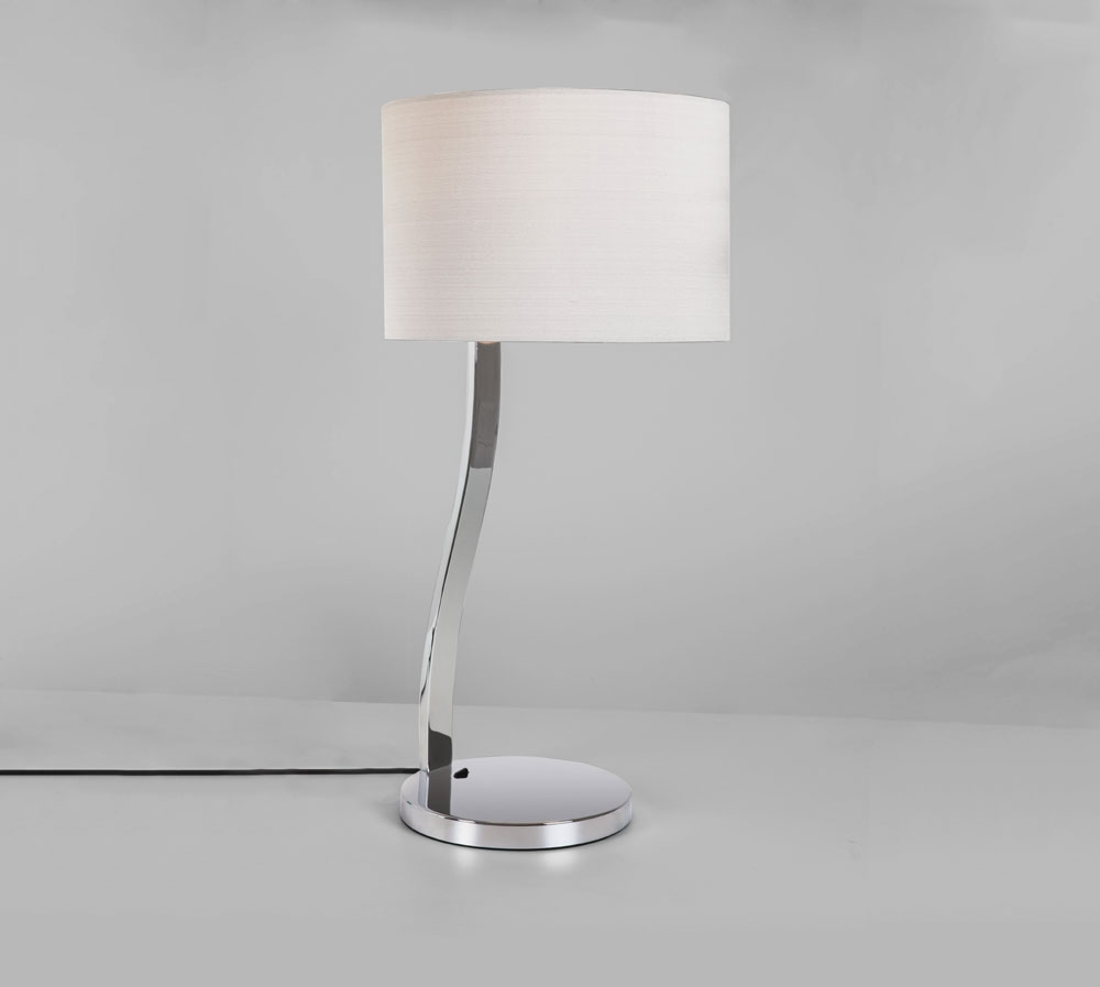 Leaning Polished Chrome Table Lamp