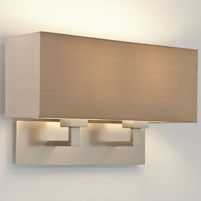 Rectangle Twin Matt Nickel Wall Light