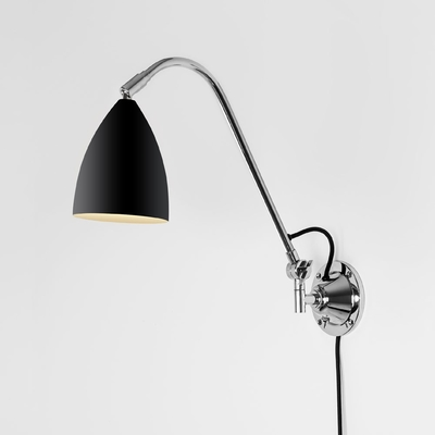 Black and Polished Chrome Adjustable Wall Light