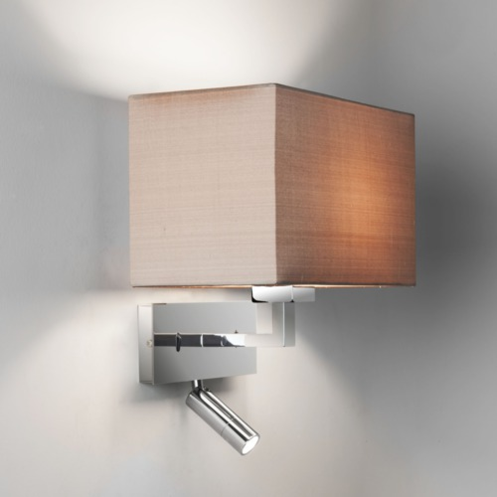 Rectangle Polished Chrome Wall Light with LED Spotlight