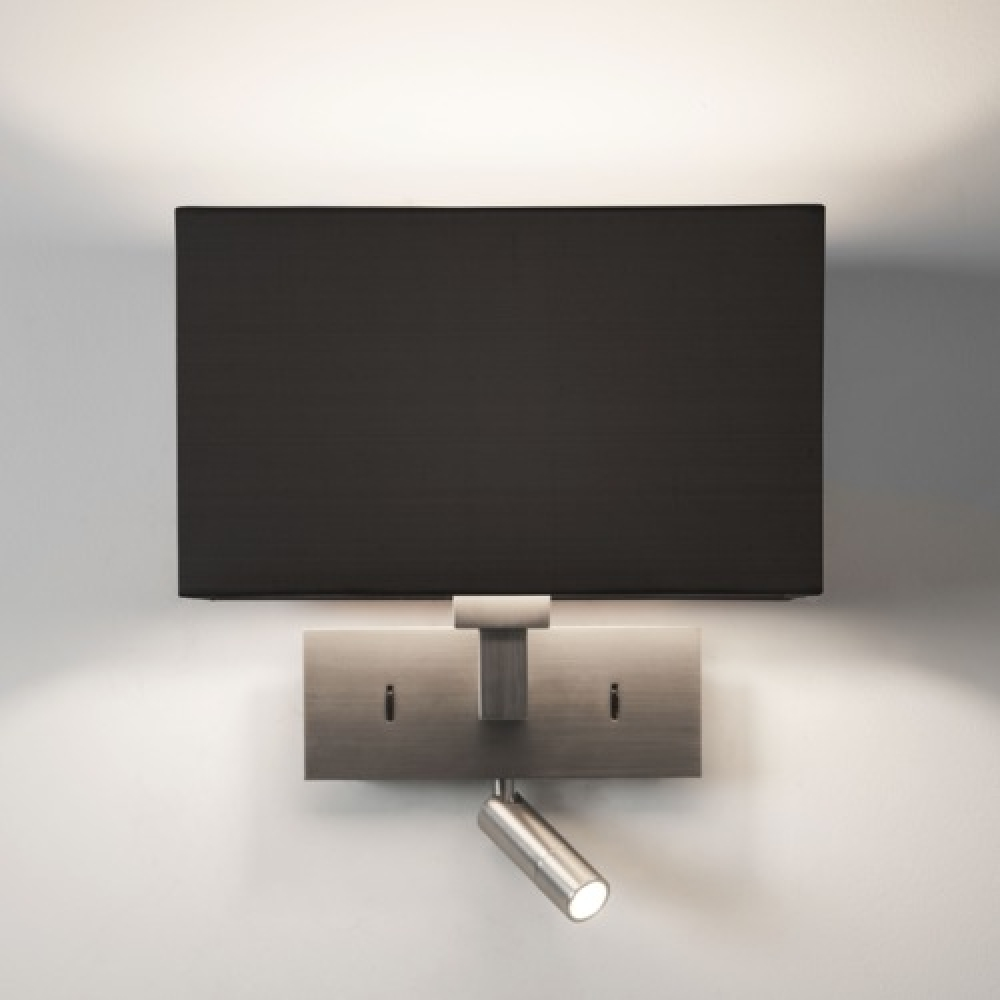 Rectangle Matt Nickel Wall Light with LED Spotlight