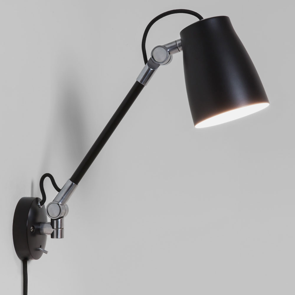 luxo spotlight wall light with arm in black