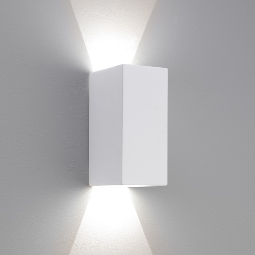 Small Solar Wall Lights : Rectangle Plaster LED Wall Light Small White - Imperial Lighting