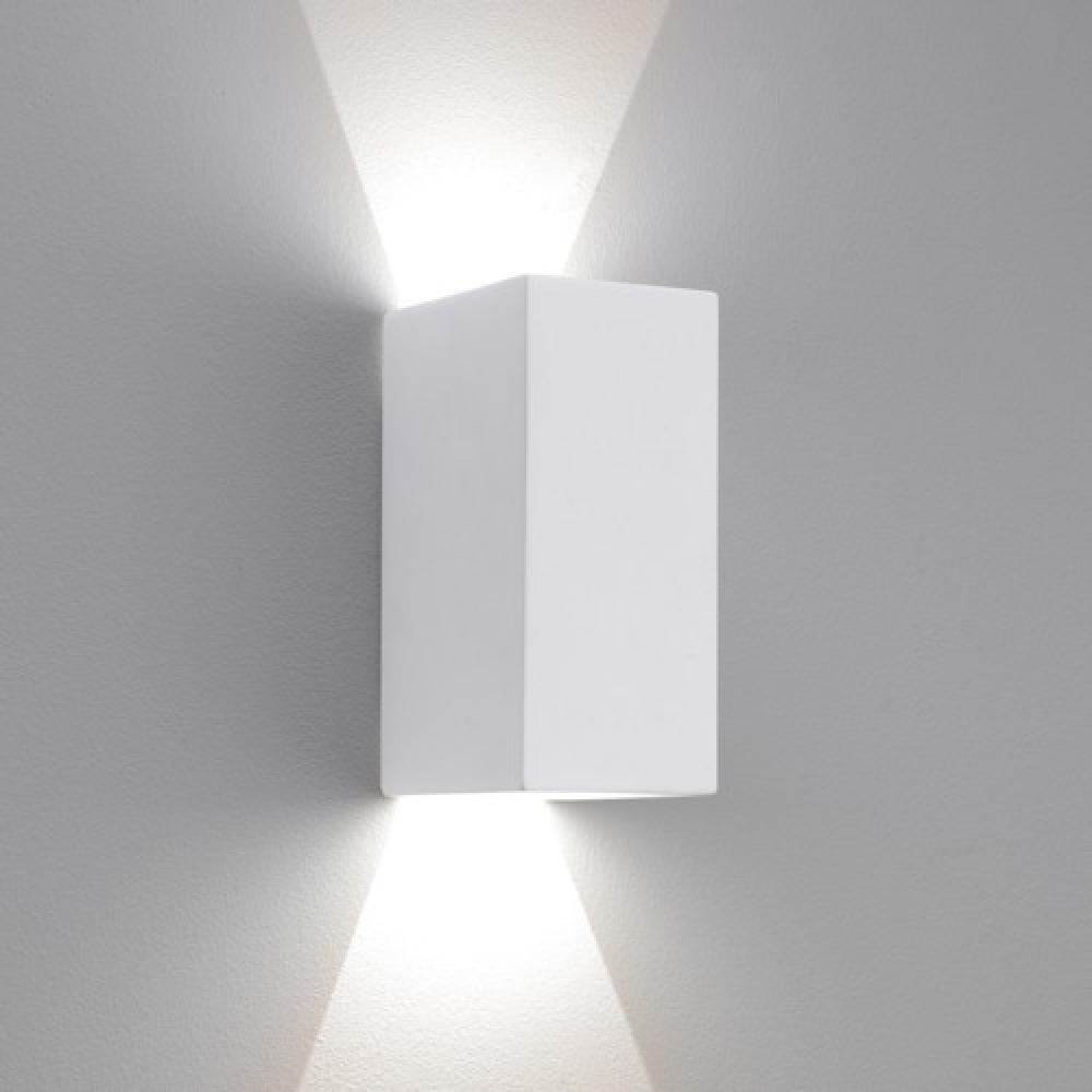 Rectangle Plaster LED Wall Light Small White