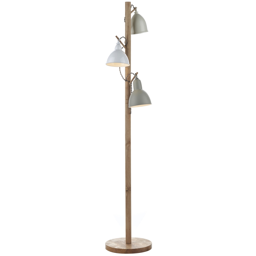 Blyton Cream & Wood Floor Lamp