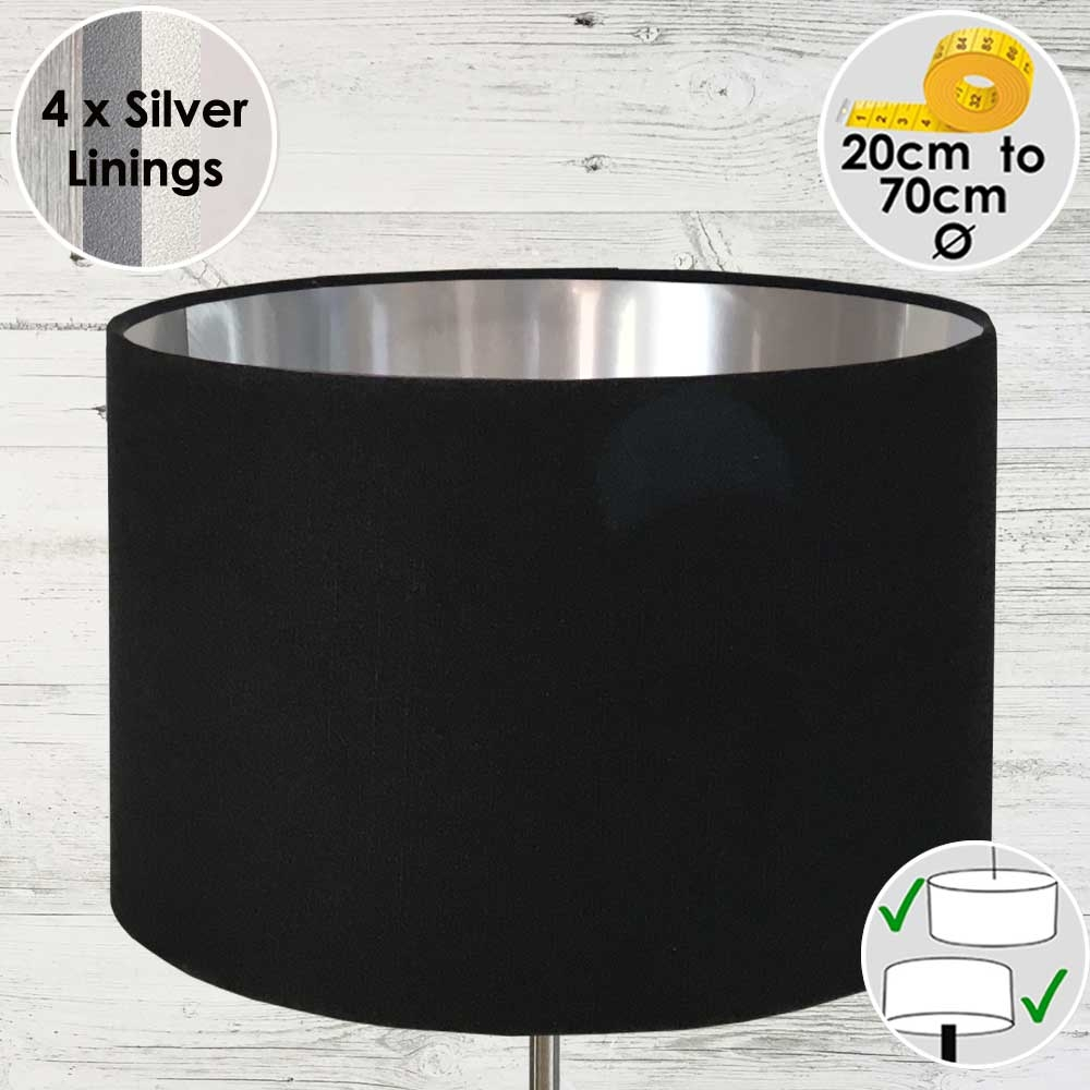 Black and Silver Drum Lampshade