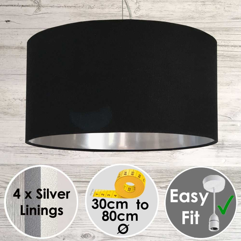 Black Drum Shade with Silver Lining