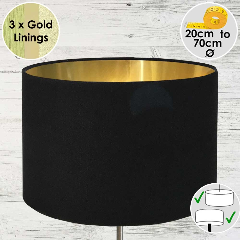 Black Drum Table Lampshade Gold Lined