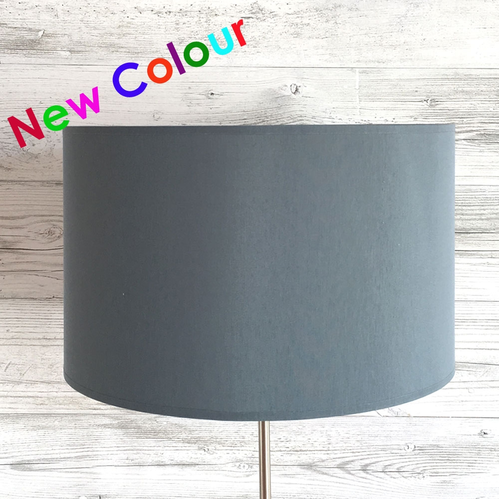 Drum Table Lampshade Blue Grey