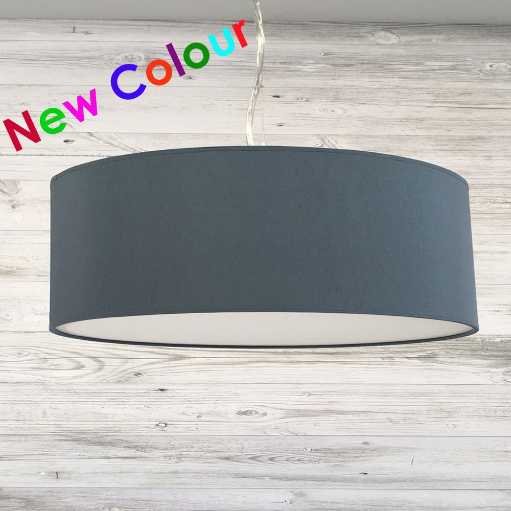 Blue Grey Drum Light Shade