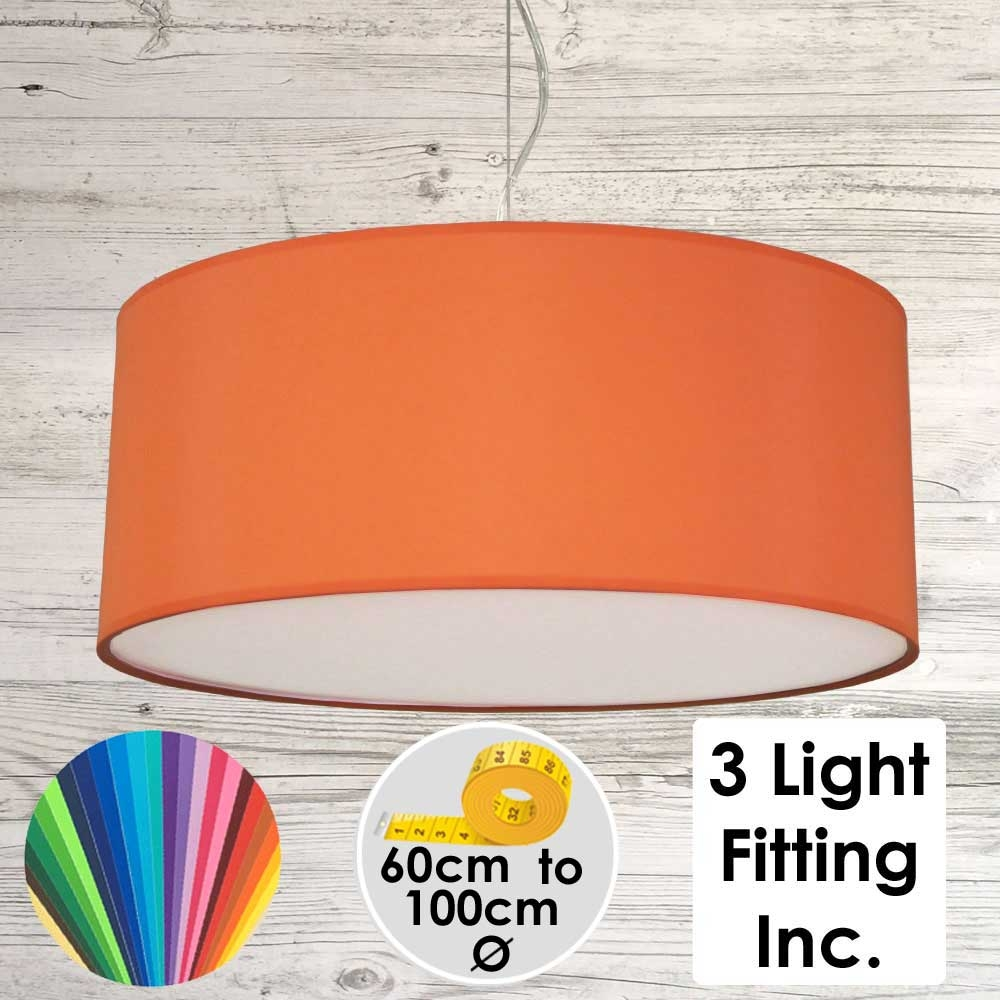 Burnt Orange Drum Ceiling Light