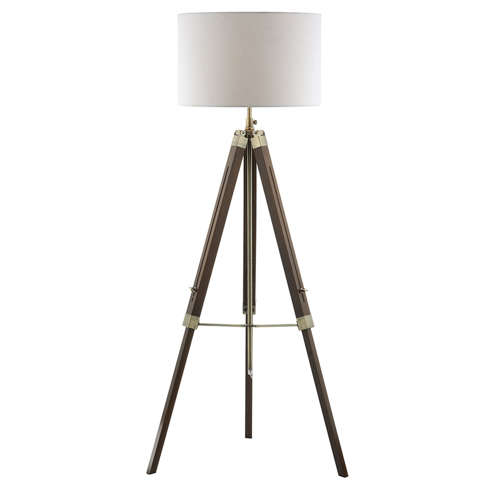 Tripod Wooden Floor Lamp and Shade