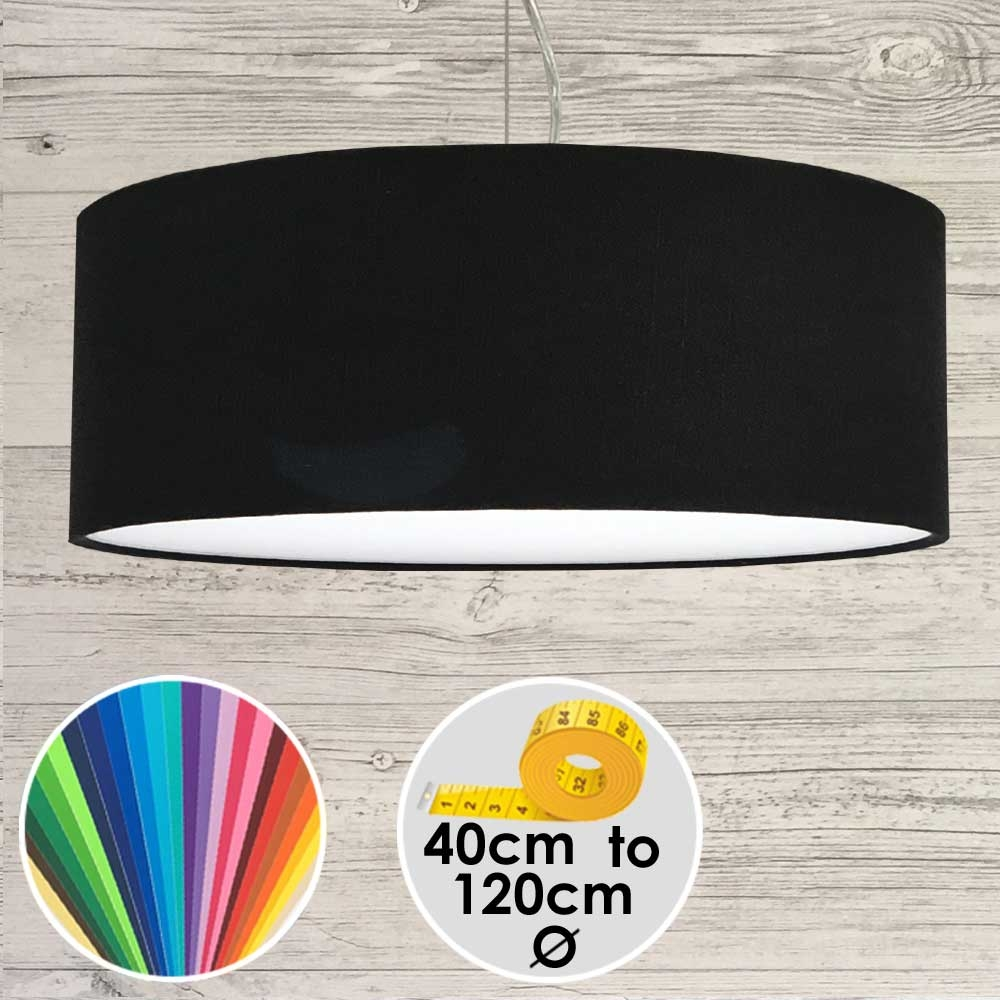 Extra Large Black Drum Pendant Lampshade