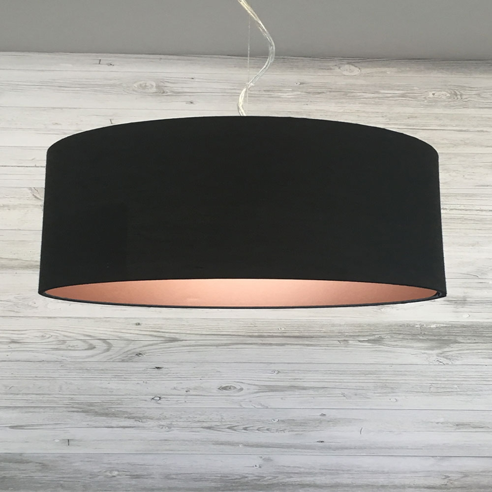 Large Black and Copper Drum Shade