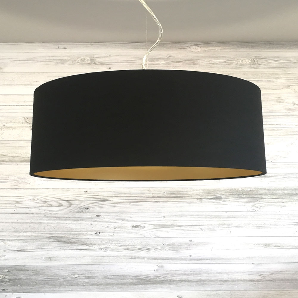 Large Black and Gold Drum Shade