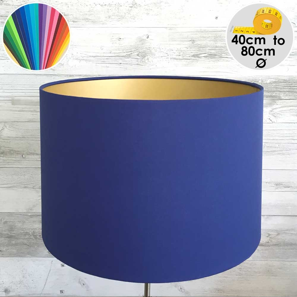 Extra Large Blue & Gold Drum Table Lamp Shade
