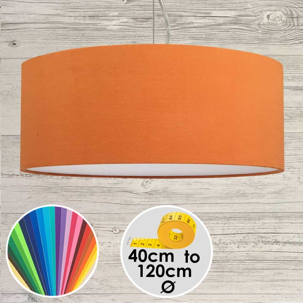 Extra Large Orange Drum Pendant Shade